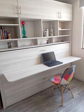 Cama Plegable 1 o 1 plaza 1/2 + escritorio abatible + mueble superior a medida