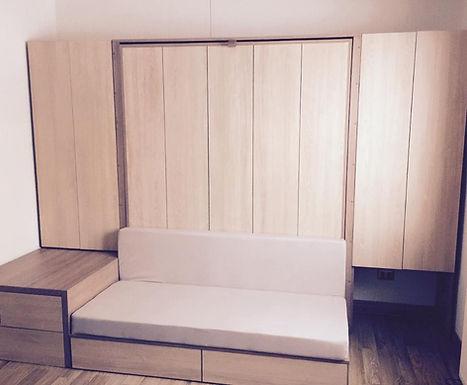 Cama plegable Sillon 2K + Cajones + Muebles Laterales Closet