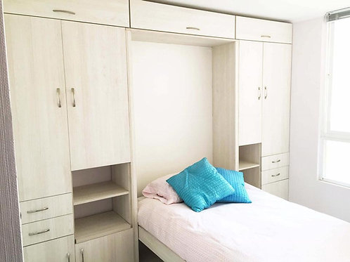 Cama Plegable 1 plaza 1/2 + Closets Laterales