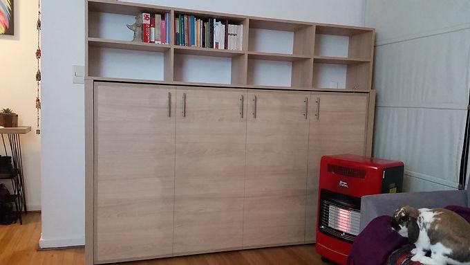 Cama Plegable 1 o 1 1/2 plaza / Modelo closet oculto