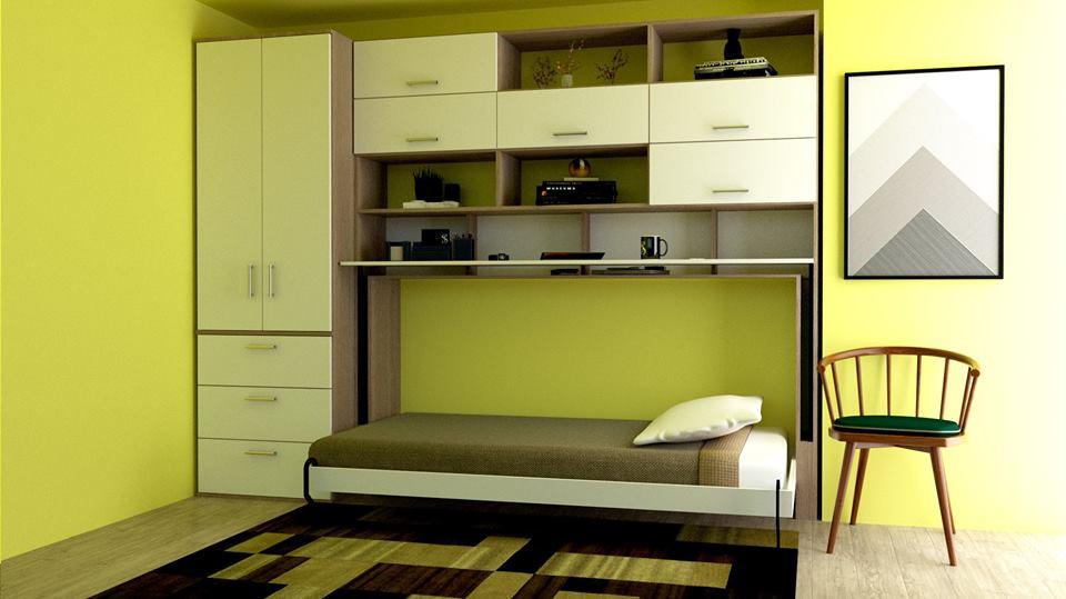 cama-plegable-abierta-con-muebleses