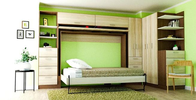 cama-plegable-abierta-con-muebles