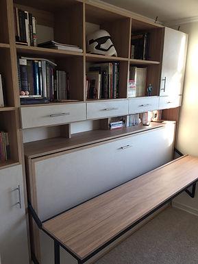 Cama escritorio dinámico + mueble superior y mueble lateral