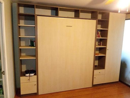 Cama vertical 2 plazas mas muebles laterales y closet