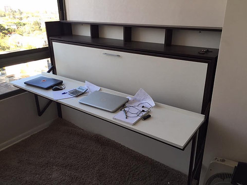 Cama escritorio 1.5 plazas blanco mate + color