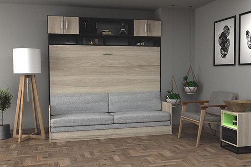Cama horizontal 2 plazas con mueble superior y sillon