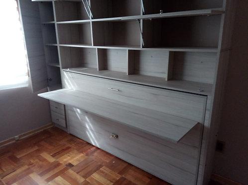 Cama escritorio abatible con muebles a medida