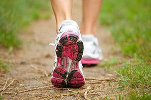 Trainer feet of someone walking