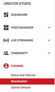 על מנת לאפשר לפרסומות לרוץ, הקליקו על MONETIZATION מתחת לערוץ