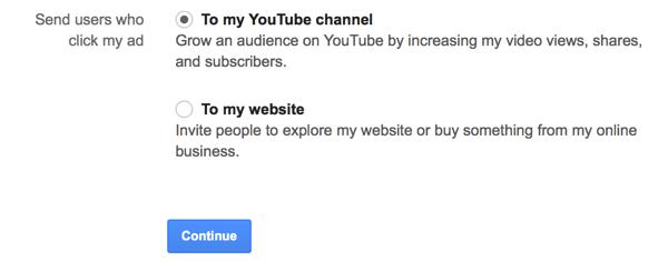 צריך להחליט אם רוצים שהקלקה על מודעה תיקח לערוץ יוטיוב או מקום אחר ברשת