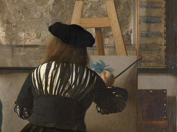 """Vermeer using a mahl stick in """"The Art of Painting"""""""