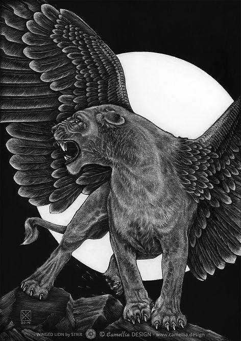 WINGED LION original scratch board artwork by the artist STRIX