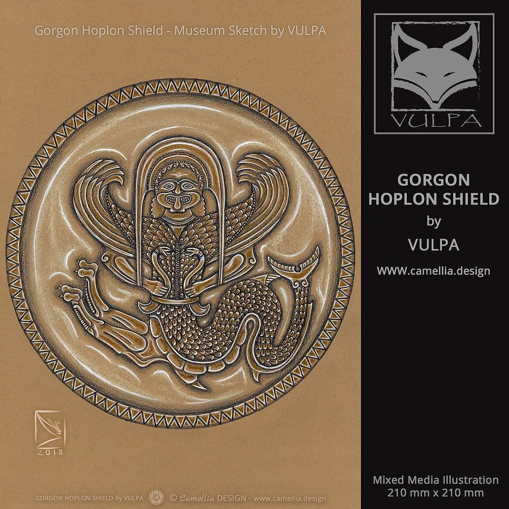 GORGON HOPLON SHIELD | museum sketch by VULPA | Free Download