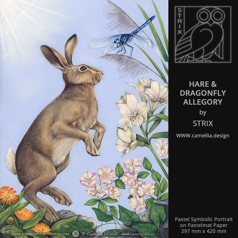HARE & DRAGONFLY ALLEGORY | Pastel Symbolic Portrait by STRIX