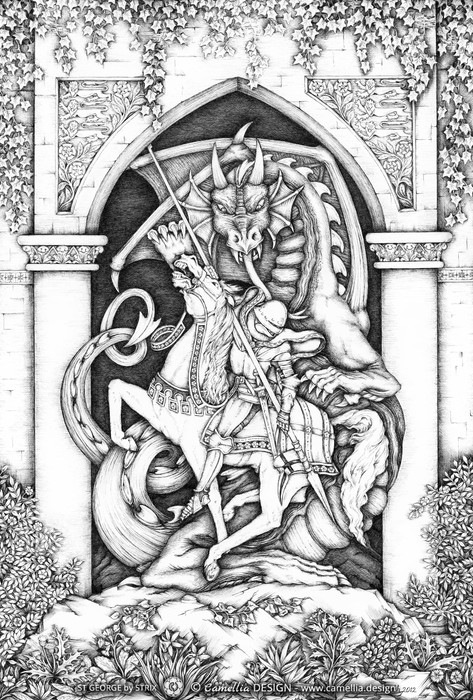 ST GEORGE pen and ink drawing by the artist STRIX