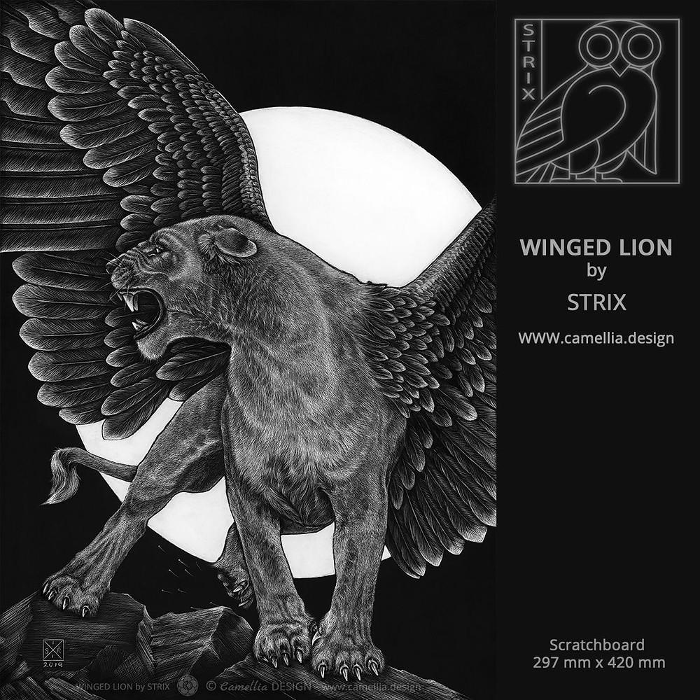 WINGED LION | scratchboard by STRIX