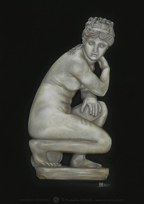 APHRODITE CROUCHING 1 pastel paintingt by the artist STRIX