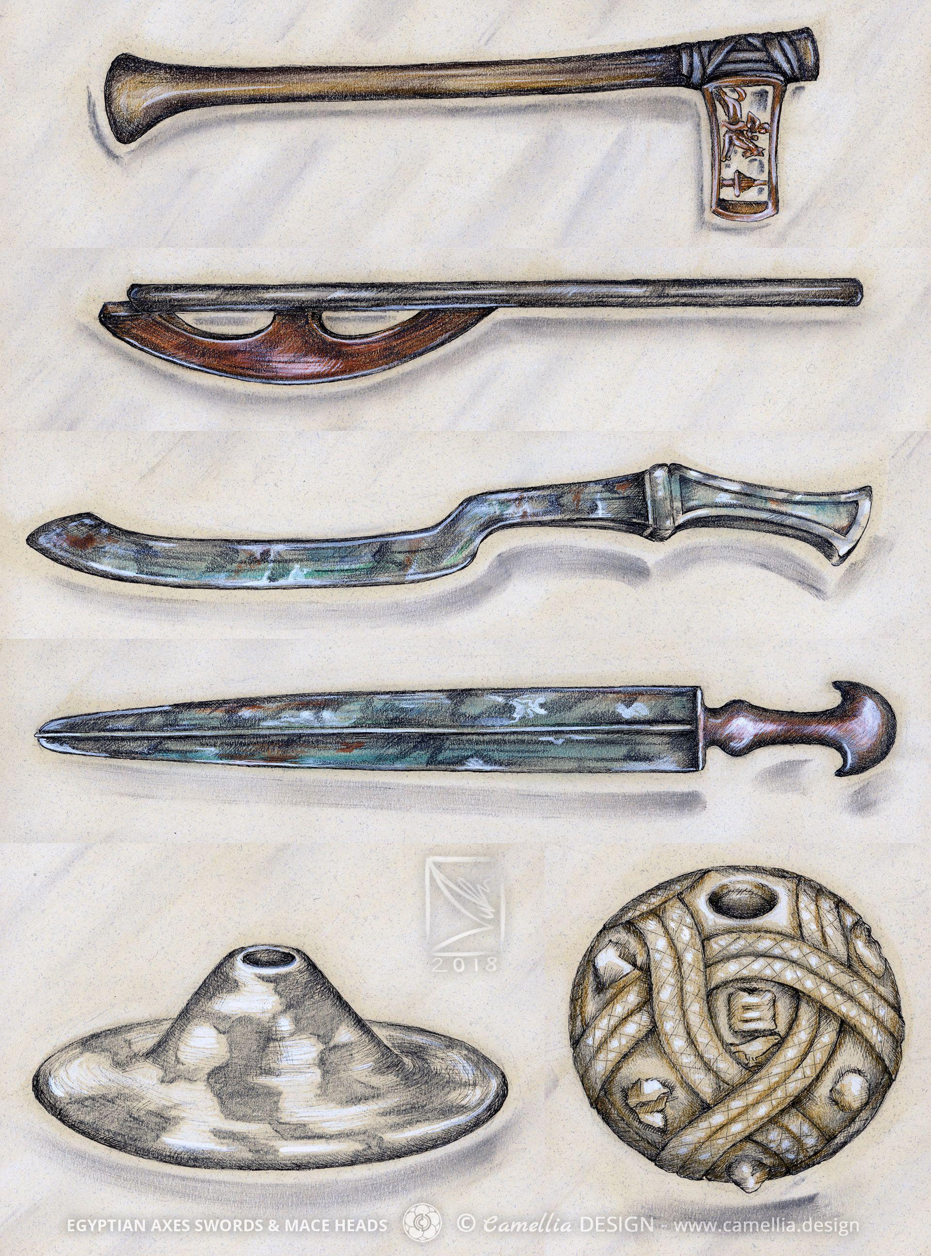 EGYPTIAN-AXES SWORDS & MACE HEADS