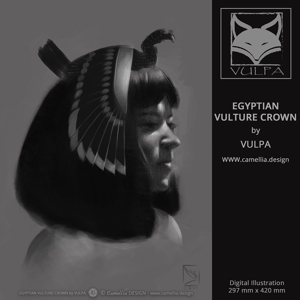 EGYPTIAN VULTURE CROWN | Tonal Sketch by VULPA | Free Download