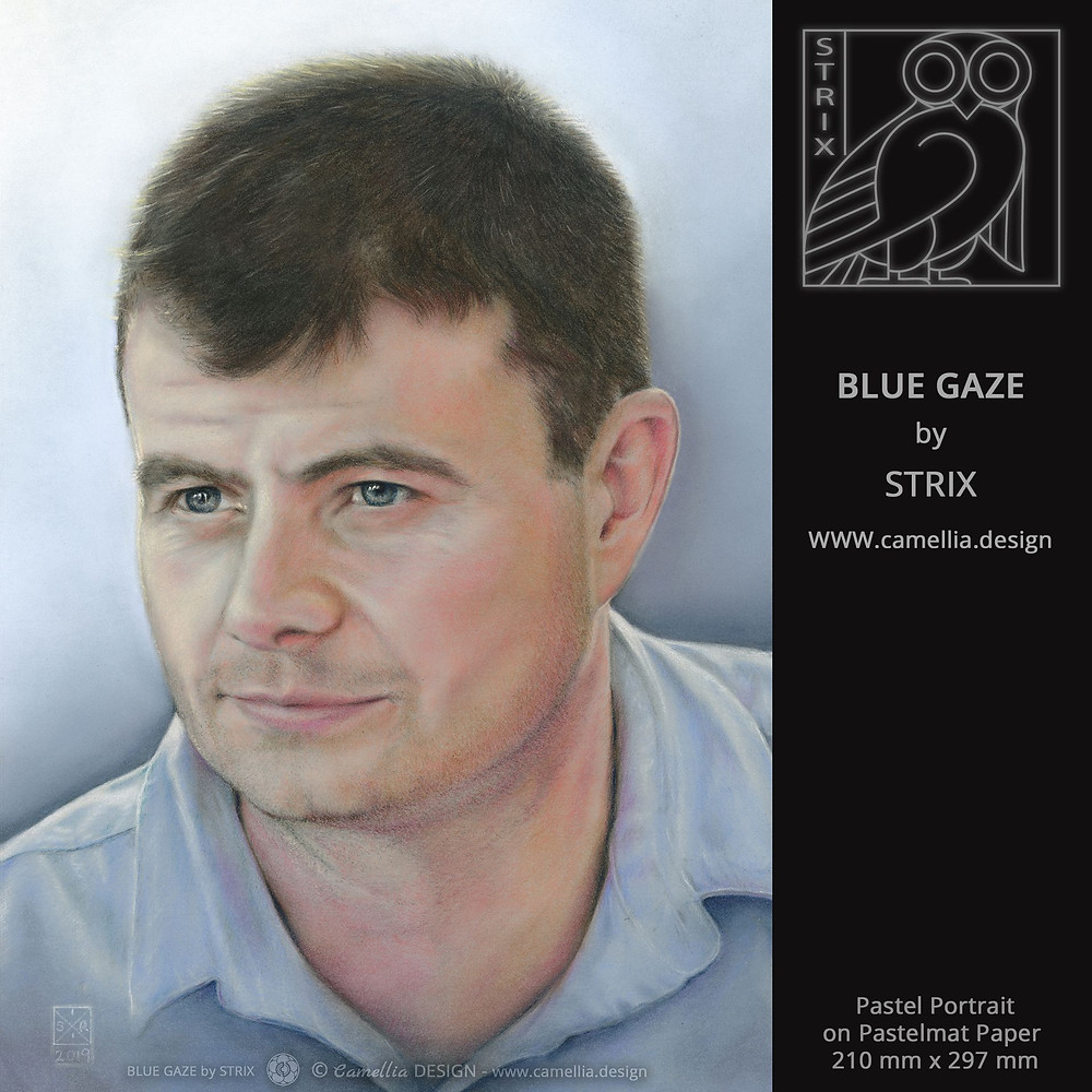 BLUE GAZE | pastel portrait by STRIX