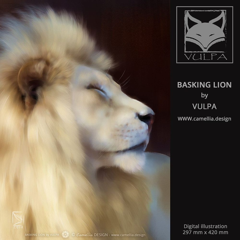 BASKING LION | Digital illustration by VULPA | Free download