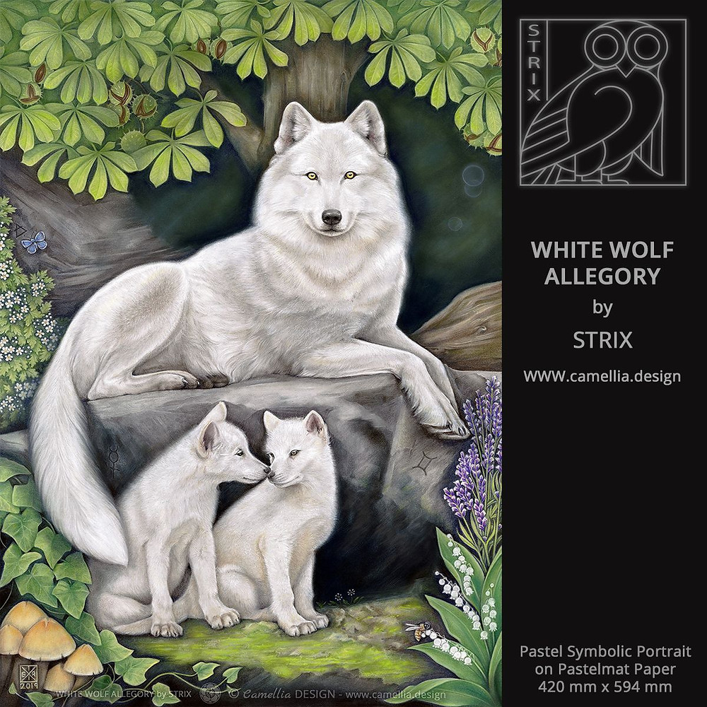 WHITE WOLF ALLEGORY | pastel symbolic portrait by STRIX