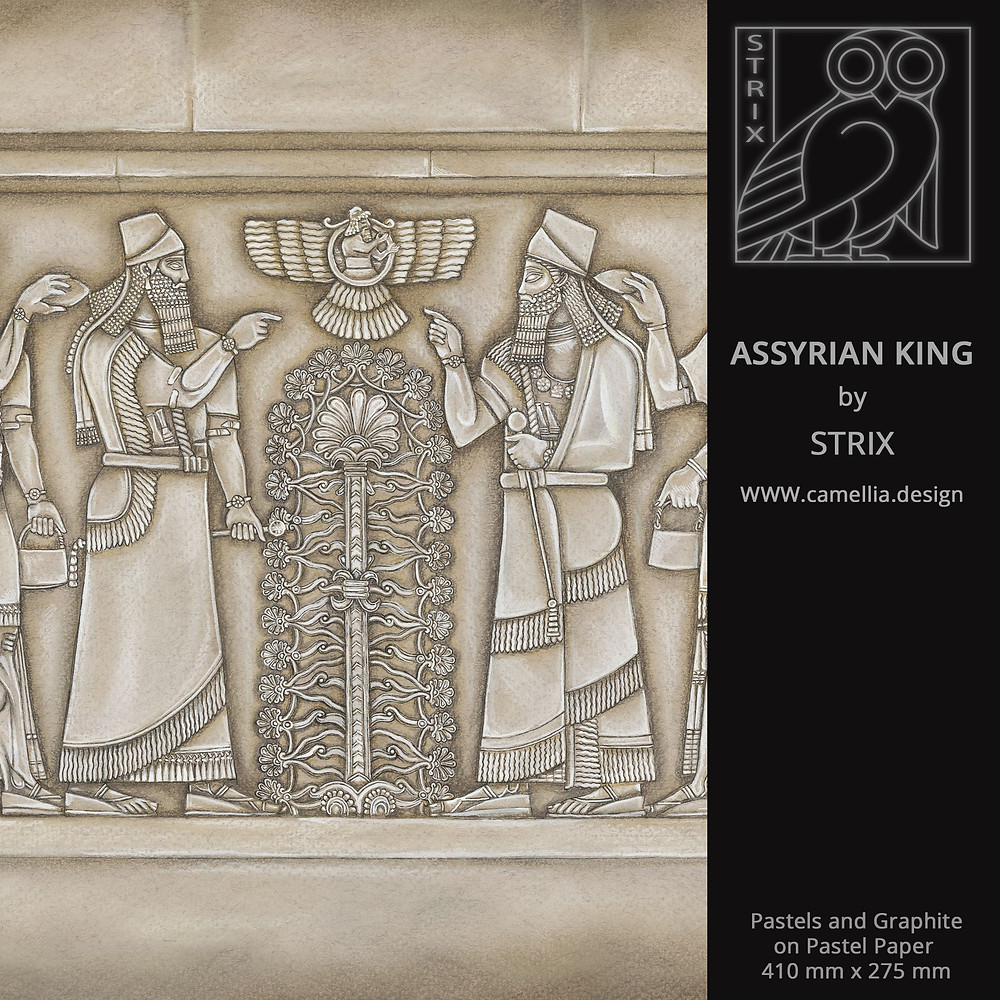 ASSYRIAN KING | pastel drawing by STRIX