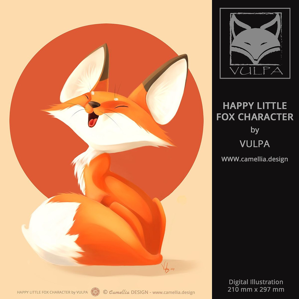 HAPPY LITTLE FOX CHARACTER| Digital Illustration by VULPA | Free download