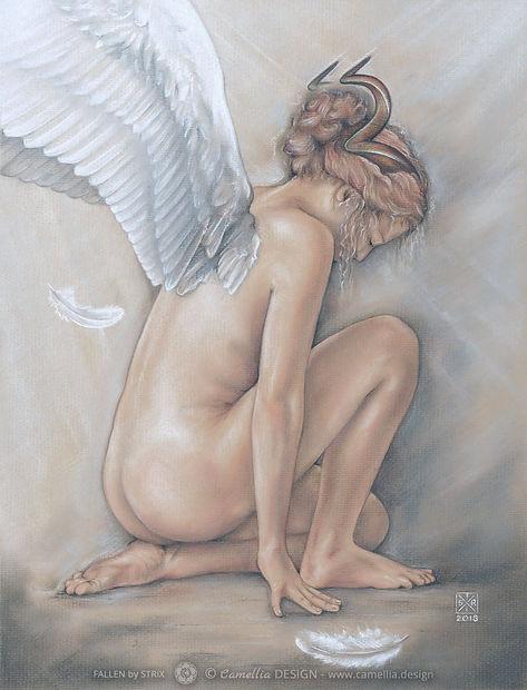 FALLEN original pastel painting by the artist STRIX