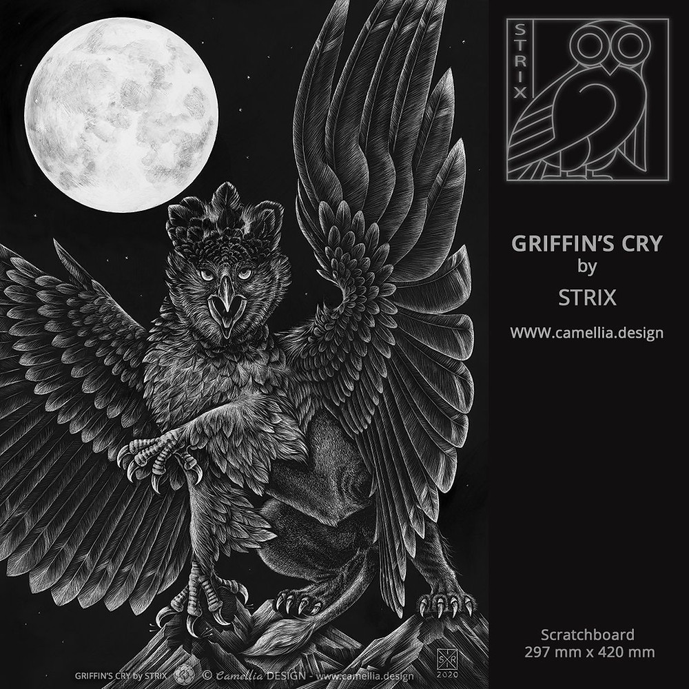 GRIFFIN'S CRY | Scratchboard by STRIX