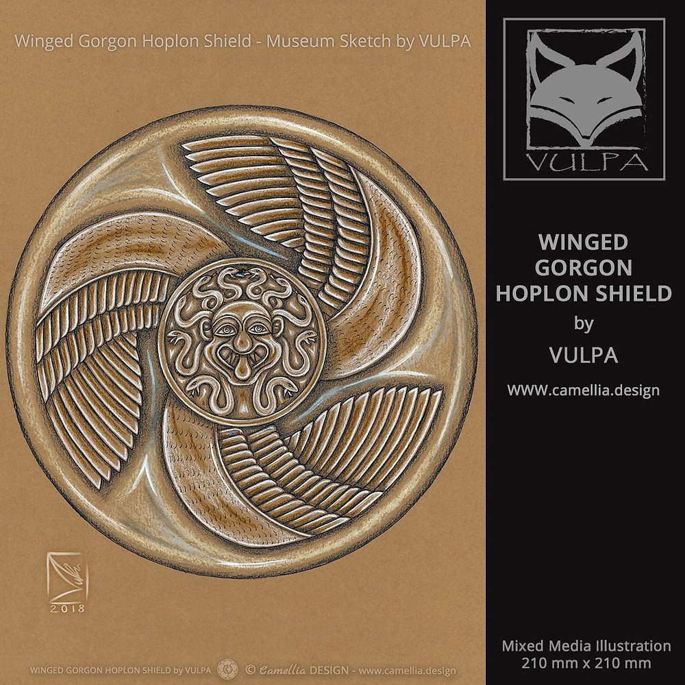 WINGED GORGON HOPLON SHIELD | museum sketch by VULPA | Free Download