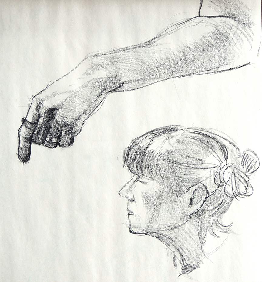 Female Head and Hands
