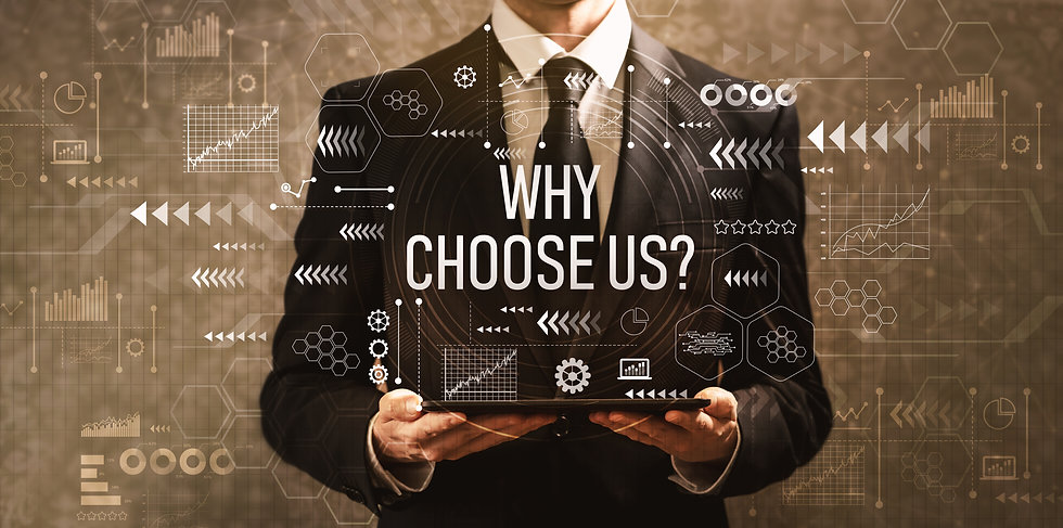 Why choose us with businessman holding a