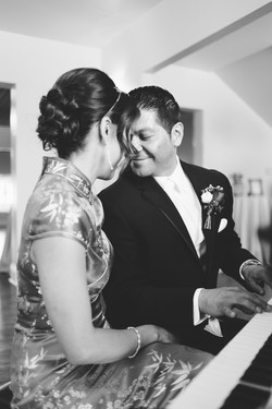 Playing piano as newlyweds