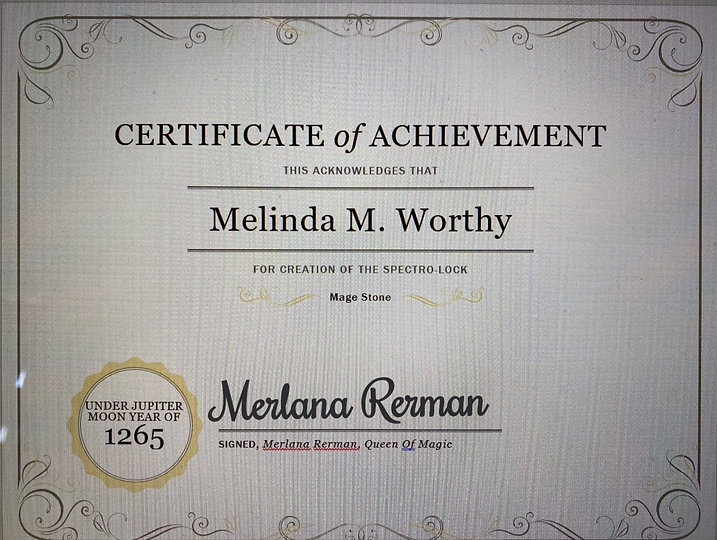 Certificate Of Achievement fo Melinda M Worthy creation of te mage stone
