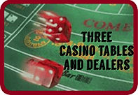 Three table casino night packages from DADs casino