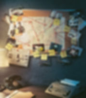 Detective board with evidence, crime sce