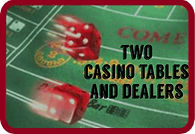 Two casino night party tables and two dealers for 4 hours