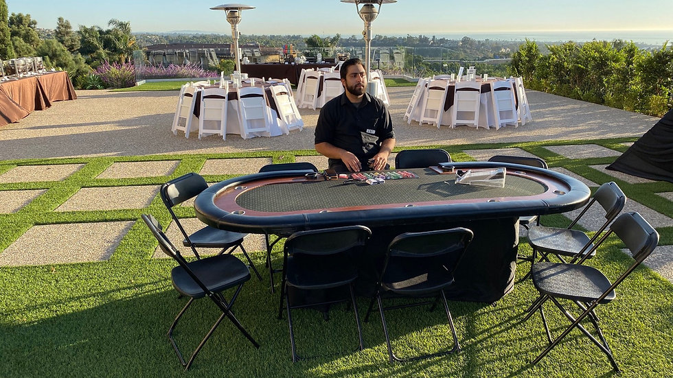 Six Casino Card Tables, One Roulette & Dealers