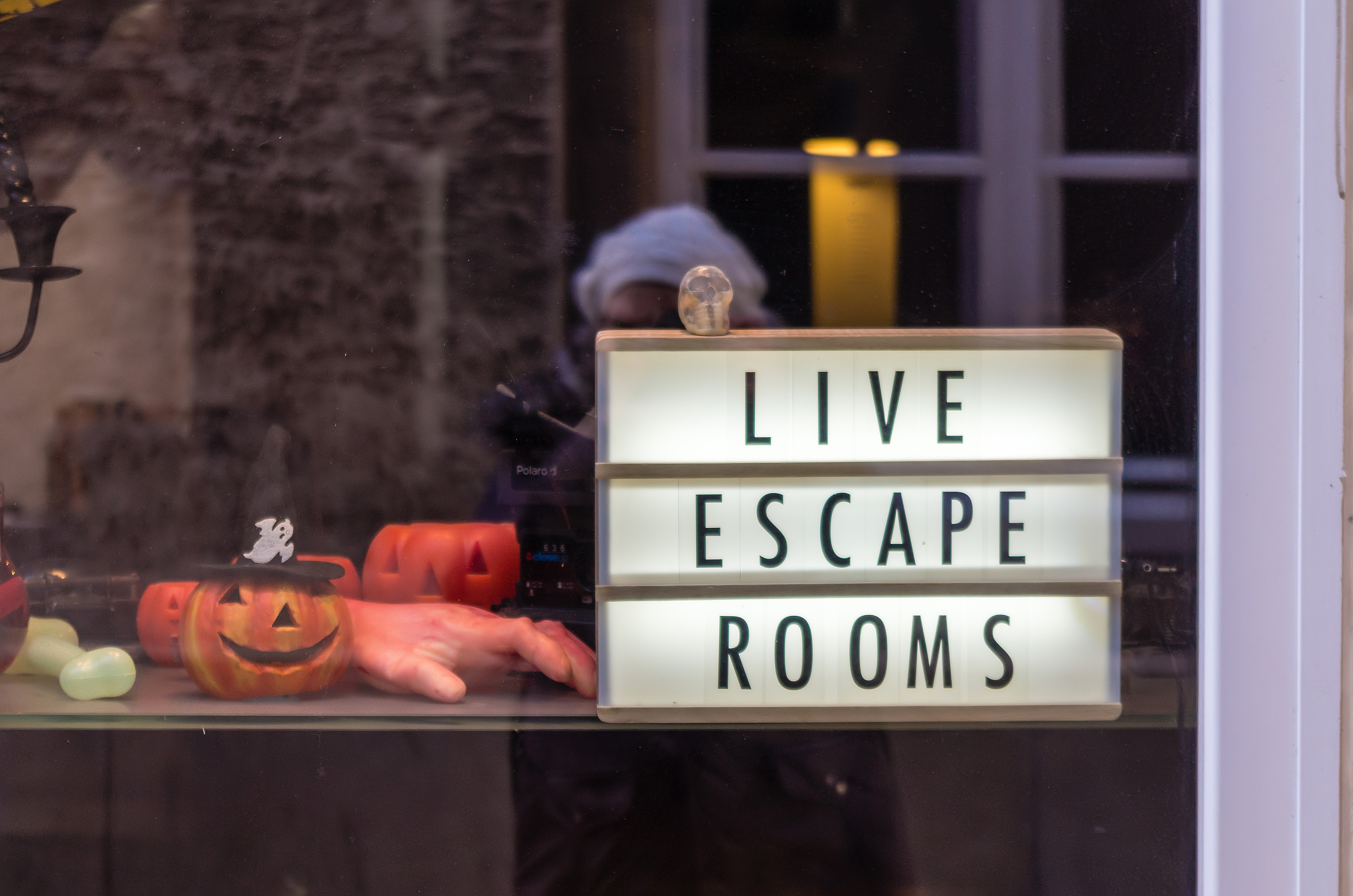 Close-up of escape game display window i