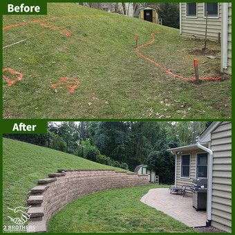 retaining wall and patio