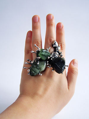 Stepanie Sun's handcrafted ring with Taiwanese jade.