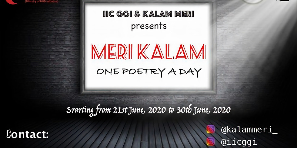 MERI KALAM – Campaign  ONE POETRY A DAY Campaign