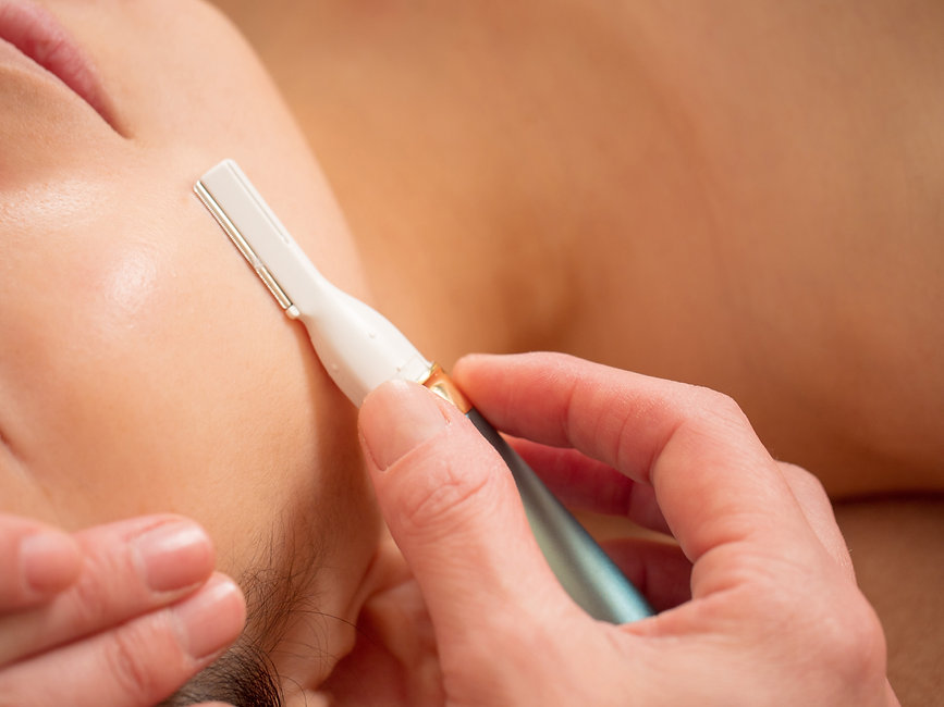 Facial shaving before light hair removal