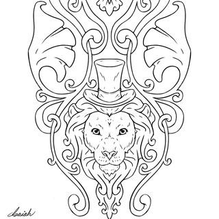 Art Nouveau Lion - Linework