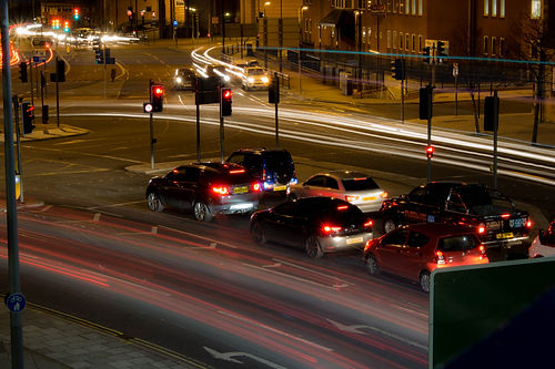 Long exposure at night of traffic in the centre of Sunderland