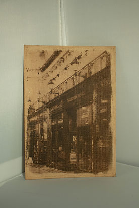 Sepia toned historical style print of JG Windows shop front in the Central Arcade