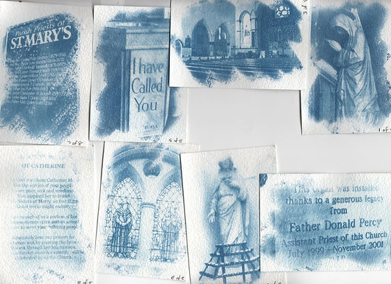 cyanotype cards of inside of church and items in the church.