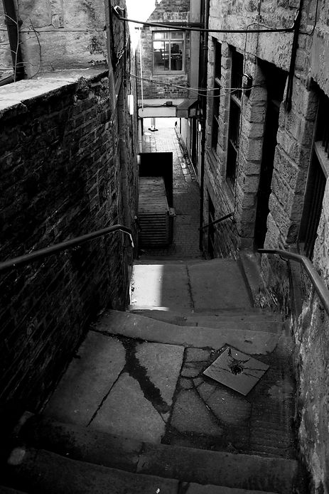 black and white alley, beside the Side Gallery, Newcastle