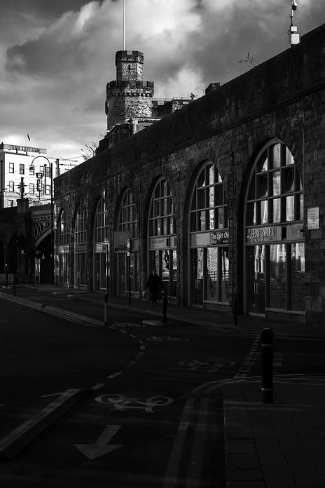 black and white street in newcastle, castle Keep visible